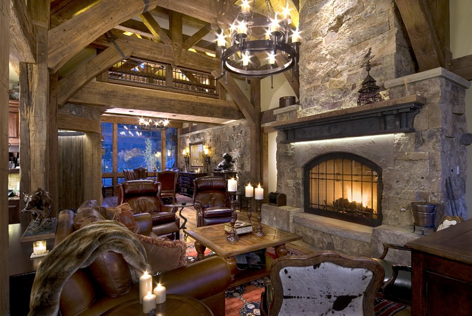 Skyland custom home great room fireplace